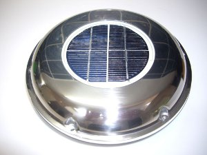 Stainless steel solar ventilator - ideal for boats and dog trailers.