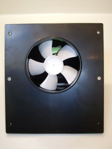 Back view of solar mini-whiz showing fan