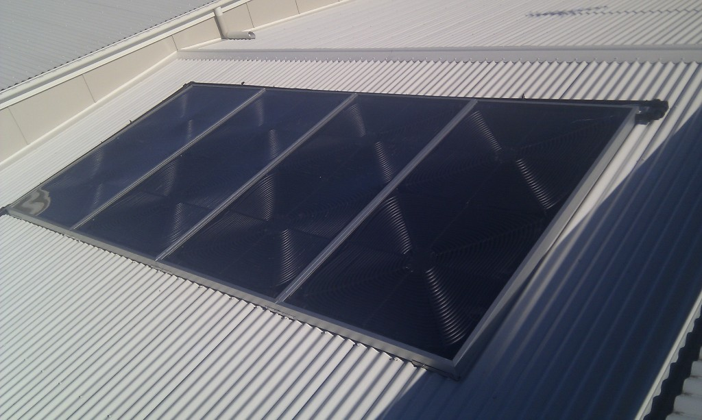 Four Solartherm panels on a metal roof