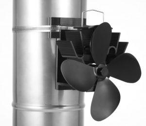 Flue mounted stove fan