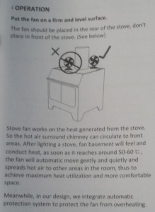 Stove fan Operating instructions