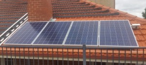 Solar panels powering pool pump